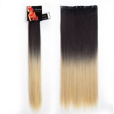 New 100% Natural As Human Clip In Hair Extensions Full Head Brown Blonde Brown