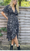 Influence Wrap Dress Size 8 & 12 Midi Black Frill Lilac Heart Print Dress GB24