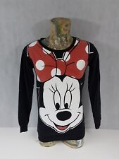 Disney Minnie Mouse Ladies Top Size 10 Long Sleeve Sweatshirt Black <A3.3>