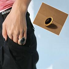 Beliebte Big Black Oval Strass Ring Retro Frauen Lady Open Ring Einstellbare CN