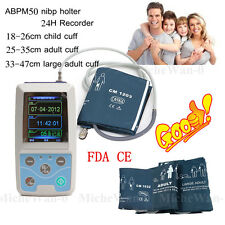 24H NIBP Holter upper arm ambulatory blood pressure monitor, 3 cuffs+pc software