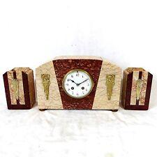 ART Deco Kaminuhr stupendo orologio da tavolo buffetuhr Marmo Bronzo con beisteller pendule odo