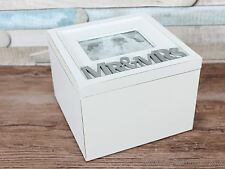 Mr & Mrs small shabby chic memory box wedding keepsake grey white