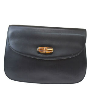 Auth Gucci Bamboo Leather Clutch Bag Black 04GC917