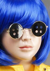 Coraline Style Round Black Button Glasses