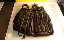 Cherry Berry faux leather vegan handbag purse black with zippers gd shape funky