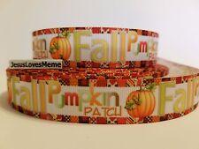 """Grosgrain Ribbon Fall Pumpkin Patch Thanksgiving Pumpkins Harvest Patchwork 7/8"""""""