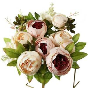 13 Head Silk Peony Artificial Flowers Wedding Bouquet Home Party Wedding Decors
