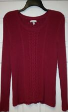 CROFT & BARROW Classic Rich Cherry Red Cable Sweater Ladies XL
