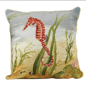 """Seahorse"" Handmade Needlepoint Pillow (18"") 100% Wool/Cotton Velvet Zip Back"