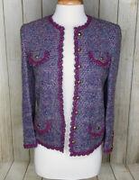 Vintage Castleberry Blue Purple Boucle Tweed Blazer Jacket Size 8 Wool Mohair