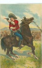 COWBOY ON HORSEBACK FIRING GUN-EMBOSSED-PRE1920-(CW-275)