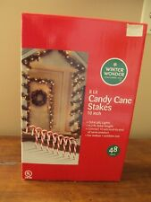 "New Christmas Candy Cane Lighted Pathway Stakes Markers 10"" Tall Winter Wonder"
