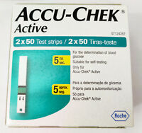 100 Test Strips for Glucometer Accu-Chek Active Sugar Diabetic Exp March 2020