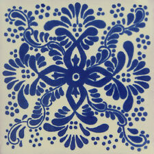 "Handmade Mexican Tile Sample  Talavera Clay 4"" x 4"" Tile C171"