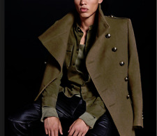 NWT Balmain X HM Khaki Green Military Trench Coat Size 34R U.S. SOLD OUT