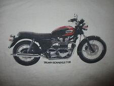 TRIUMPH BONNEVILLE T100 T SHIRT Retro vtg British Motorcycle Tee White Medium