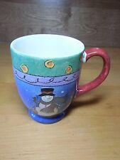 "Sango SWEET SHOPPE CHRISTMAS Set of 2 Mugs 4 1/2"" Blue Yellow"