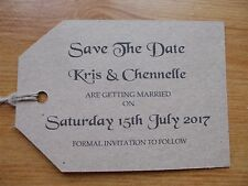 50 x PERSONALISED SAVE THE DATE RUSTIC, VINTAGE WEDDING CARD SIZED A7