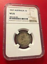 1927 AUSTRALIA ONE SHILLING 1S NGC VF 25