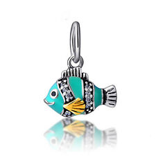 Genuine .925 STERLING SILVER, Enamel & CZ Sparkles FISH Pendant Bracelet Charm