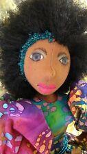 Tie-dye Lisa African American Handmade-Ooak cloth doll Kwestionmark#159