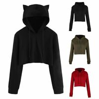 Women Teen Girls Cute Cat Ear Sweatshirt Crop Top Hoodies Long Sleeve Pullover