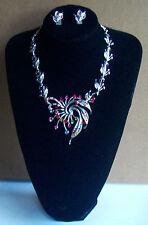 Remolino de cristal de color Mult Collar Y Clip en Pendiente Conjunto
