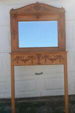 Antique Victorian Quarter Sawn Tiger Stripe Solid Oak Mirrored Fireplace Mantel