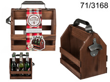Wooden Wine Beer Bottle Holder Carry Rack Crate Box Case & Metal Bottle Opener