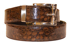 New Mens Chocolate Brown Alligator Print Genuine Leather Fashion Nice Belt