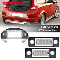 Pair LED License Plate Number Lights Lamp Error Free For Volvo C30 2008-2011
