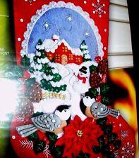 Bucilla Chickadees Christmas Felt Embroidery Stocking Kit Bird Snowman Scene