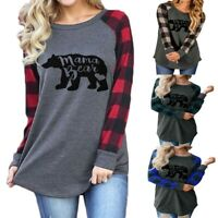 Women Plaid Patchwork Mama Bear Printed Loose Tops Christmas Casual Blouse Shirt