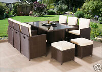 RATTAN GARDEN FURNITURE CUBE SET CHAIRS SOFA TABLE OUTDOOR PATIO WICKER