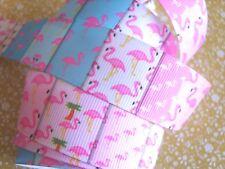 "1M x Pink Flamingo Bird GROSGRAIN RIBBON Craft Hair Bow Cake 25MM (1"") *UK*"