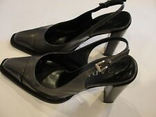 c6440e15330 Prada Women s Gray Leather Pointy Toe Heels Shoes Italy Sling back Sz-36 ...