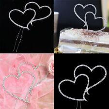 Cute Romantic Crystal Rhinestone Silver Double Heart Cake Topper Wedding Decor