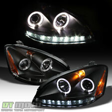 Black For 2002-2004 Altima LED DRL Halo Projector Headlights 02 03 04 Headlamps