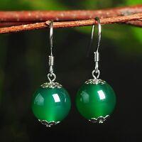 New Pure S925 Sterling Silver Green Chalcedony Women Ball Dangle Earrings