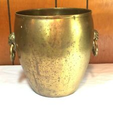 "Vtg Heavy FORESIDE BRASS Bucket Planter Trash Can 2 Head Ring Handles 8.5"" INDIA"