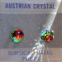 8mm 3/8 in Austrian Crystal VM Rainbow Disco Ball Stud Earrings stainless steel