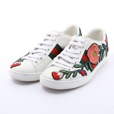 Gucci Embroidery Leather Sneakers 34 Ladies White 431917 Ace Floral