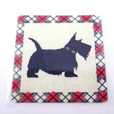 Vintage 1980s Trisar Sticker Scotty Scottie Scottish Terrier Dog Plaid Border