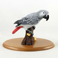 AFRICAN GREY Parrot Figurine~Hand Painted Cold Cast Stone Resin~Hardwood Base