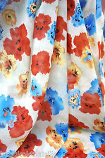 IVORY RED BLUE ULTRA SOFT SILK CHIFFON FLORAL PAINT FABRIC SCARF DRAPE