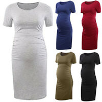 Pregnant Womens Maternity Midi Dress Summer Short Sleeve Bodycon Casual Dresses