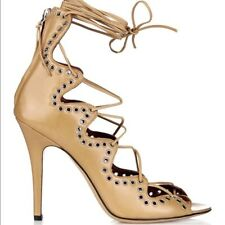 Isabel Marant Ghillies shoes high heels pumps stilettos laced NEW 37 beige $1060