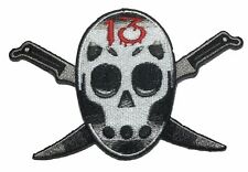 """Friday The 13th Jason Mask Knife 4.5""""  Embroidered Iron On Patch"""
