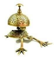 Antique Brass Frog Style Desk Bell Nautical Hotel Counter Reception Service Bell